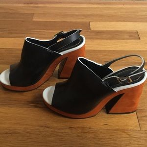 Zara leather and suede color block heels Sz 39